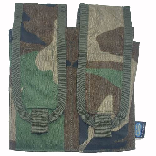 Molle M4 magazijnpouch dubbel Woodland